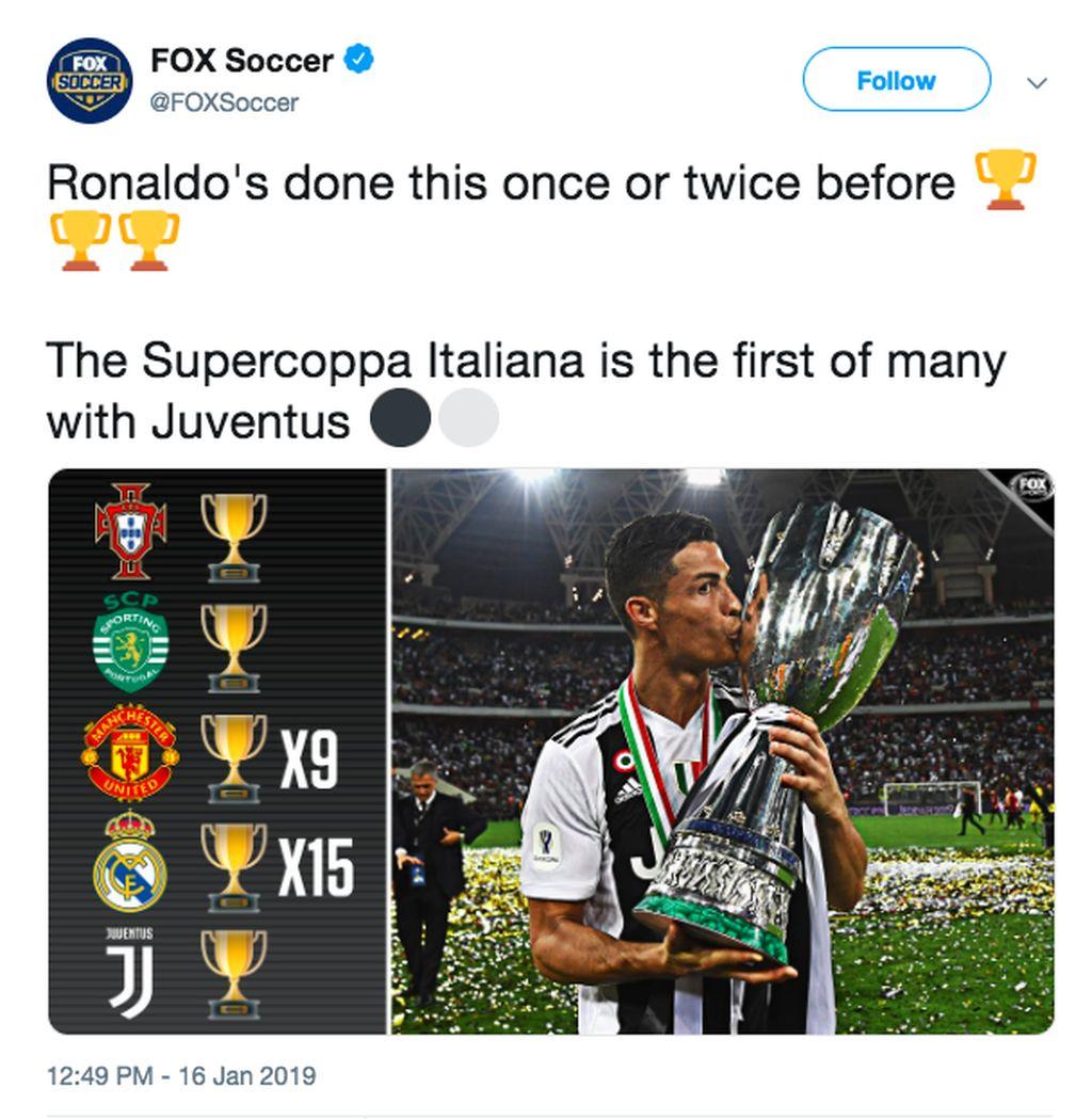 Ia selalu berperan menyumbangkan trofi untuk setiap klub yang dibelanya serta timnas Portugal. Setelah Piala Super Italia, mungkin saja Ronaldo nanti bakal menyumbang trofi lainnya. Foto: istimewa