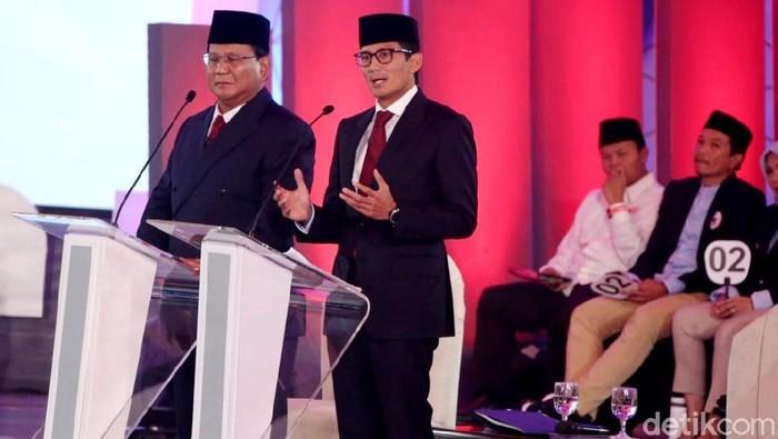 Foto: Prabowo-Sandiaga saat debat Pilpres 2019. (Rengga Sancaya/detikcom).