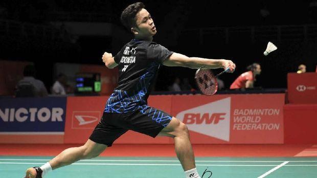 Anthony Ginting melaju ke babak kedua Indonesia Masters 2019. (