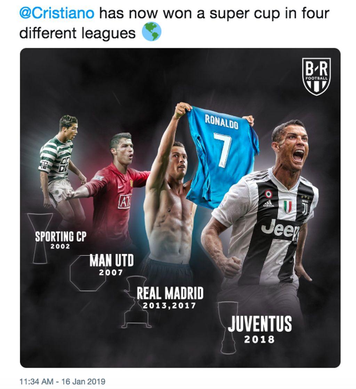 Banyak statistik soal kehebatan Ronaldo beredar di medsos. Saah satunya, ia telah memenangkan Piala Super di 4 liga yang berbeda. Foto: istimewa