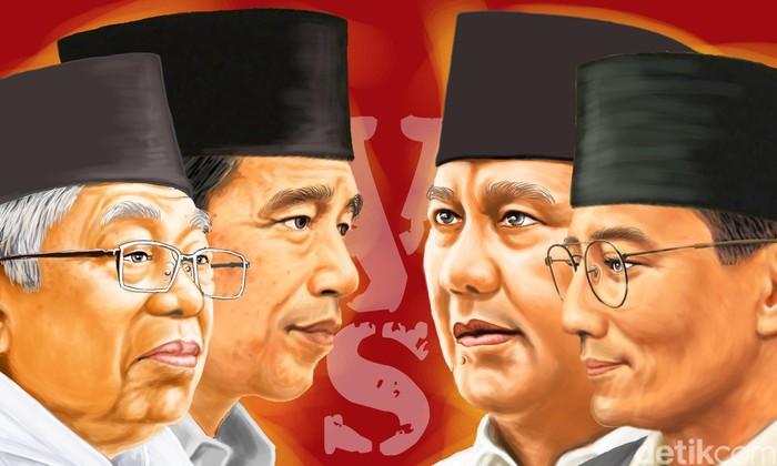 Ilustrasi Jokowi-Maruf Vs Prabowo-Sandiaga (Edi Wahyono/detikcom)