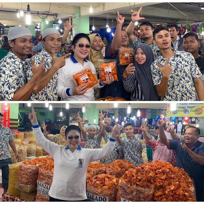 Lewat akun instagram pribadinya, Titiek memamerkan beberapa momen ketika ia menyambangi pasar tradisional. Kali ini yang jadi tujuannya adalah pasar di Pekanbaru, Riau. Foto: instagram @titieksoeharto