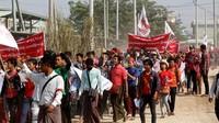 Sebanyak 700 buruh bakal di PHK akibat ditutupnya salah satu pabrik Shyang Jhuo Yue Co., Ltd. milik Taiwan. REUTERS/Ann Wang.