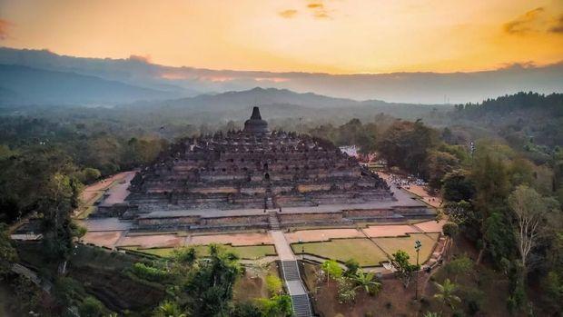 Beautiful Borobudur temple aerial photo in golden hours