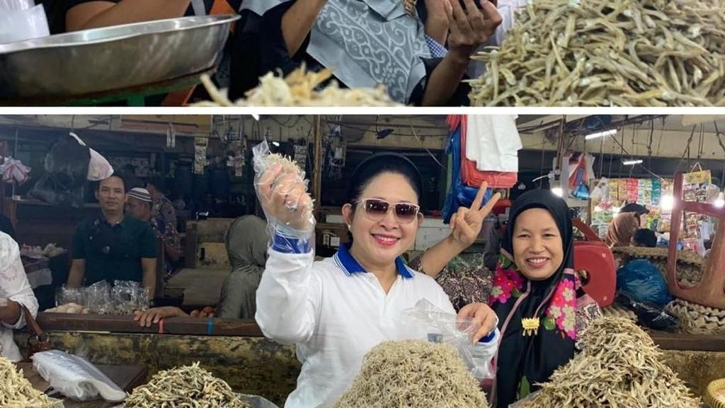 Titiek Soeharto Asyik Belanja Keripik dan Ikan Asin di Pasar Bawah Pekanbaru