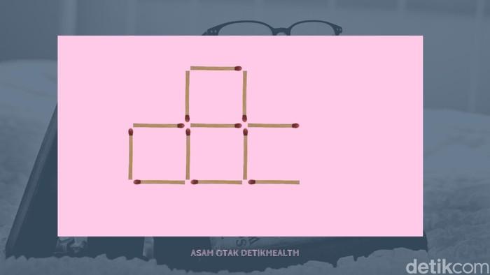 Sekarang menggunakan gambar, asah logikamu dengan membuat empat kotak hanya dengan memindahkan dua batang korek api saja. (Foto: detikHealth)