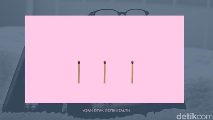Masih dengan gambar, coba atur tiga batang korek api berikut agar bisa menjadi angka enam. (Foto: detikHealth)