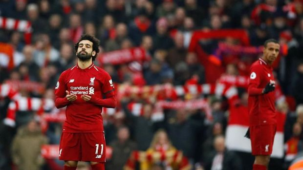 Mohamed Salah mencetak dua gol untuk Liverpool ke gawang Crystal Palace. (