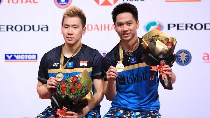 Kevin Sanjaya Sukamuljo/Marcus Fernaldo Gideon juara Malaysia Masters 2019. (dok. Humas PBSI)