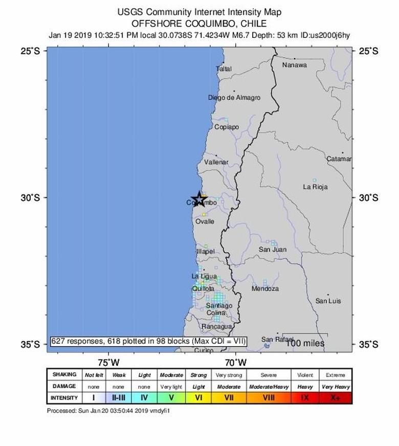 Gempa M 6,7 Guncang Chile