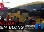 Rem Blong Saat Nanjak, Bus Tabrak Tembok Pembatas Kali