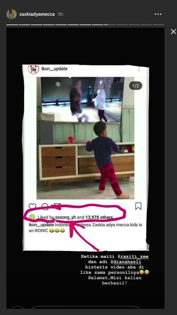 Mantul! Video Anak Zaskia Adya Mecca Dapat Like dari Yunhyeong IKON