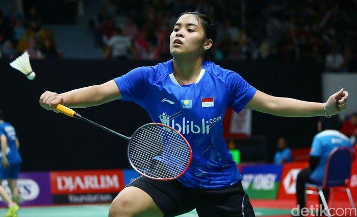 Gregoria bertanding melawan Aya Ohori di Indonesia Masters yang berlangsung di Istora Senayan, Jakarta, Rabu (23/1/2019).