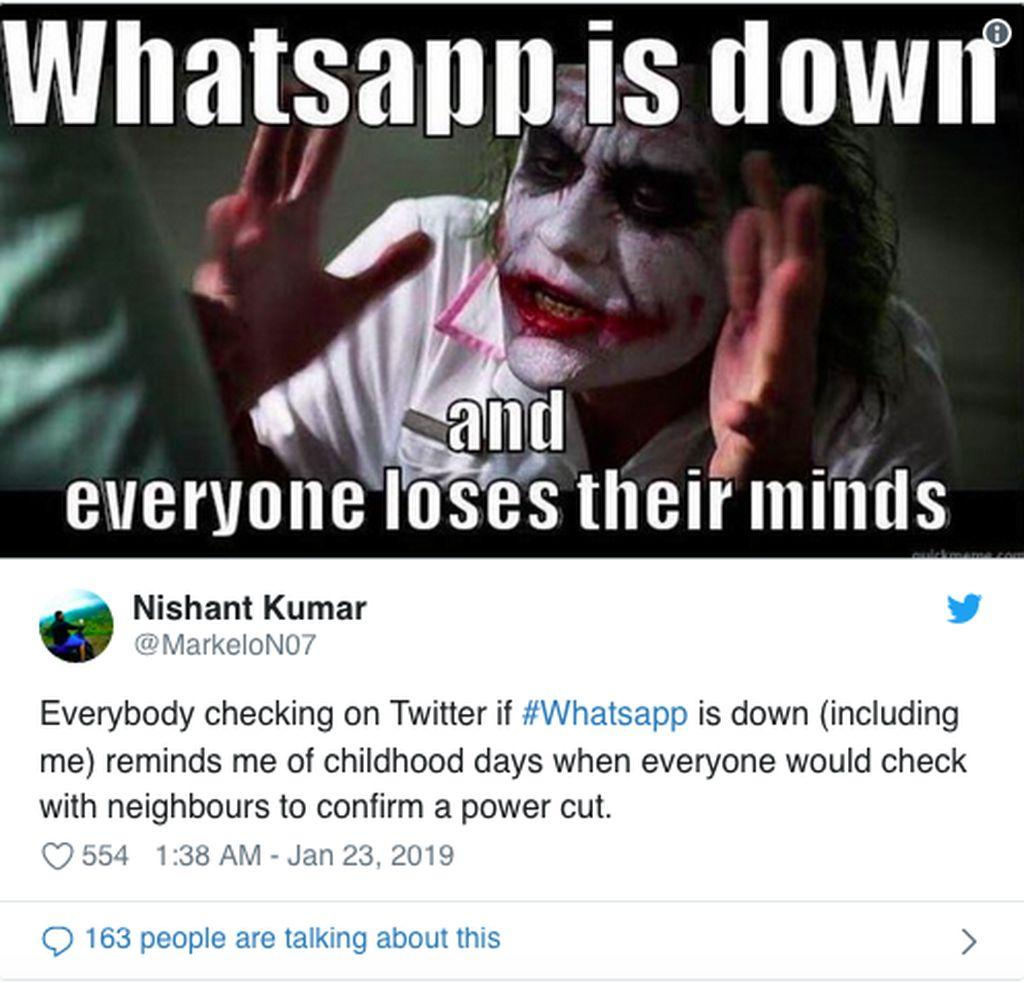 Layanan messaging WhatsApp sempat down di sejumlah wilayah dunia, walaupun tak ada laporan Indonesia ikut terdampak. (Foto: Internet/Twitter)