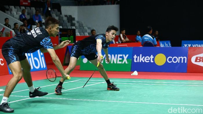 Fajar Alfian/M. Rian Ardianto diminta untuk membayar kegagalan Australia Terbuka di Indonesia Open 2019.  (Grandyoz Zafna/detikSport)