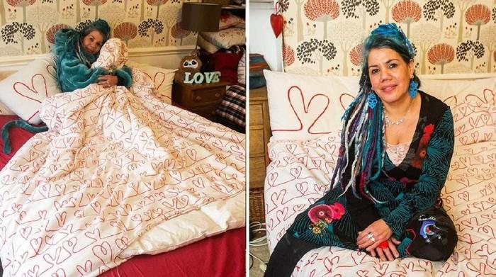 Pascale Sellick dan selimut kesayangannya. Foto: Facebook Pascale Pauly Sellick