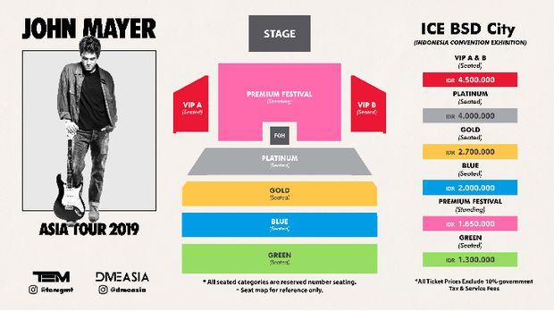 Ini Denah Set Panggung Konser John Mayer di Jakarta