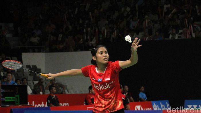Gregoria Mariska Tunjung dan Pusarla V Sindhu bertanding di babak kedua Indonesia Masters yang dihelat di Istora Senaya, Jakarta, Kamis (24/1/2019).