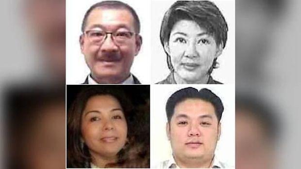 (Dari kiri atas searah jarum jam) Ayah Jho Low, Low Hock Peng; ibunda Jho Low, Goh Gaik Ewe; kolega Jho Low, Tan Kim Loong dan Shabnam Naraindas Daswani alias Natasha Mirpuri.