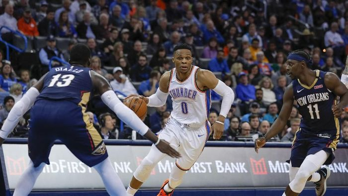 Oklahoma City Thunder mengalahkan New Orleans Pelicans (Alonzo Adams-USA TODAY Sports)