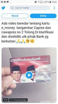 Timses Mengaku Tak Tahu Ada e-Money Bergambar Prabowo-Sandi