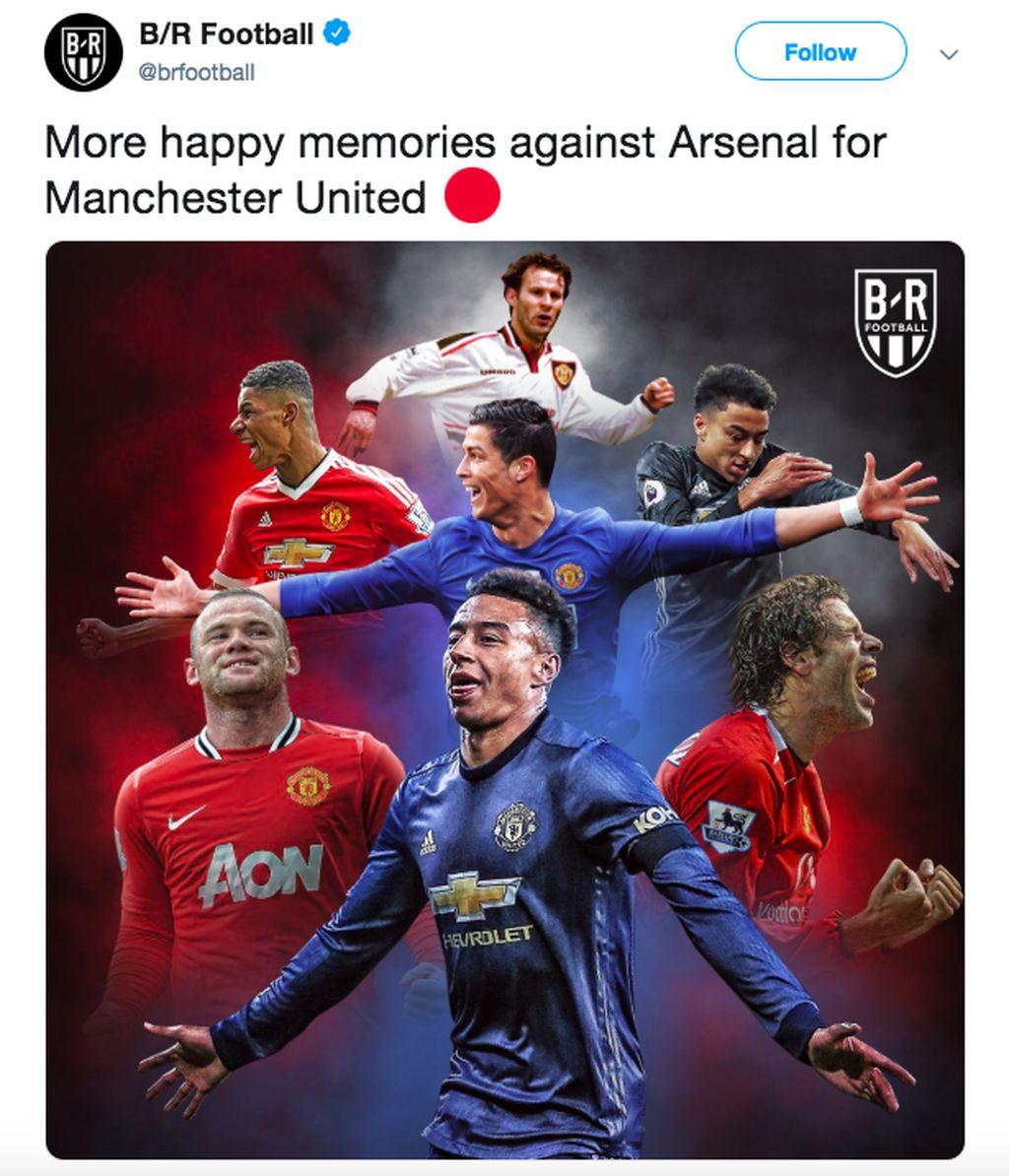 Kemenangan atas Arsenal membangkitkan kenangan Manchester United masa silam saat dulu juga menaklukkan Arsenal melalui para pemain bintang. Foto: istimewa