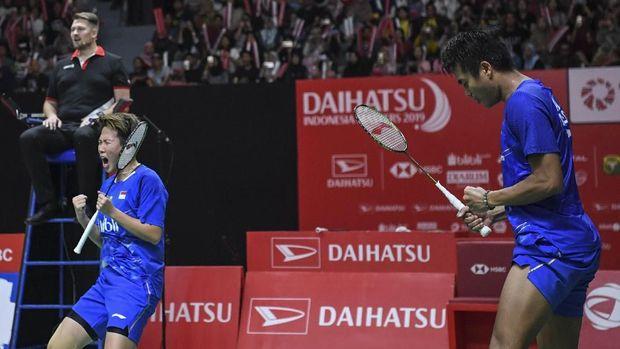 Liliyana Natsir bersama Tontowi Ahmad melangkah ke final Indonesia Masters 2019. (