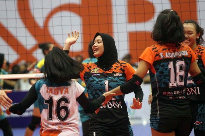 Pada pertandingan Putaran Dua Bola voli Proliga 2019 di Gor Sritex Arena, Solo, Jawa Tengah, Jumat (25/1/2019), Tim Putri Jakarta BNI 46 menang dengan skor 3-0 (25-14, 25-14, 25-9). Pool/Tim Putri BNI 46.