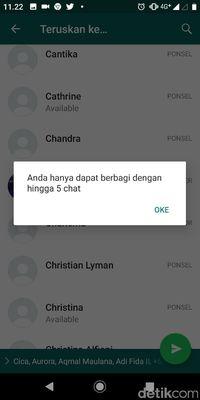 Batasan Forward Pesan WhatsApp Mulai Dirasakan Pengguna