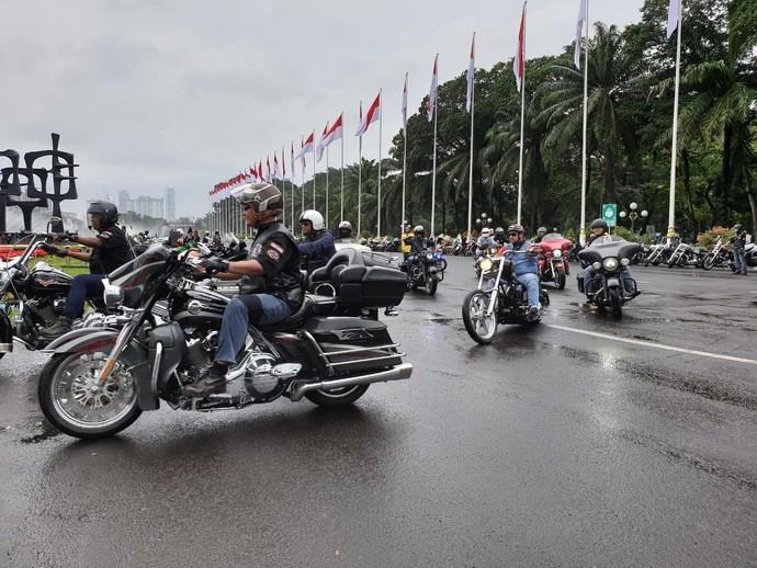 Acara bertajuk Pesta Rakyat Bikers Jakarta ini diinisiasi oleh komunitas Motor Besar Indonesia (MBI) dengan dukungan dari authorized dealer Harley-Davidson, dan beberapa lainnya. Foto: Luthfi Anshori