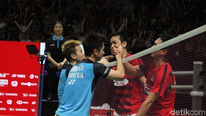 Ganda putra Indonesia di salah satu ajang kejuaraan bulutangkis. (Foto: Rifkianto Nugroho/detikcom)