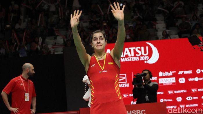 Carolina Marin cedera di Indonesia Masters 2019. (Foto: Rifkianto Nugroho)