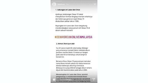 Ahmad Dhani terlanjur dipastikan hadir dalam konser reuni Dewa 19 di Malaysia.