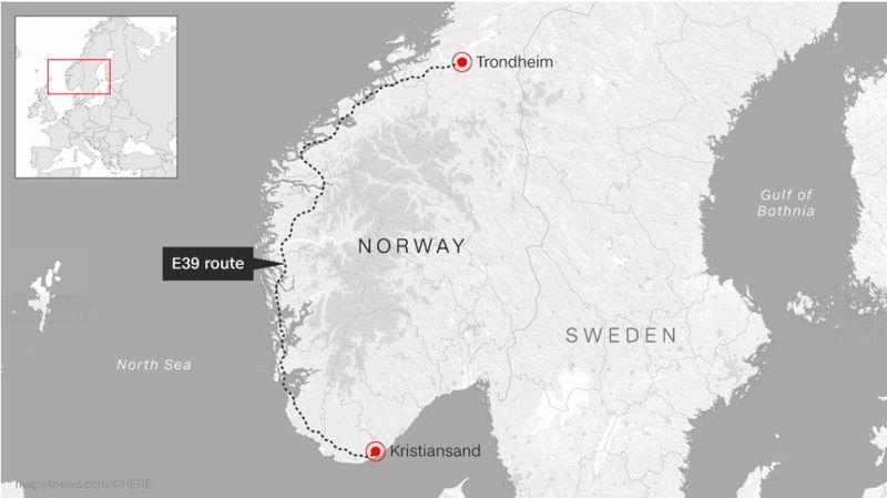 Karena lanskapnya terdiri gletser, tebing hingga pegunungan, Norwegia punya proyek infrastruktur terowongan dan jalan senilai USD 40 miliar atau setara Rp 563,7 triliun. Rutenya dari Kota Kristiansand ke Trondheim (NPRA/CNN Style)