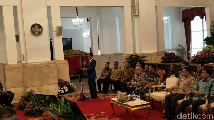 Foto: Presiden Jokowi di pembukaan Rapat Pimpinan TNI-Polri di Istana Negara, Jakarta. (Jordan-detikcom)