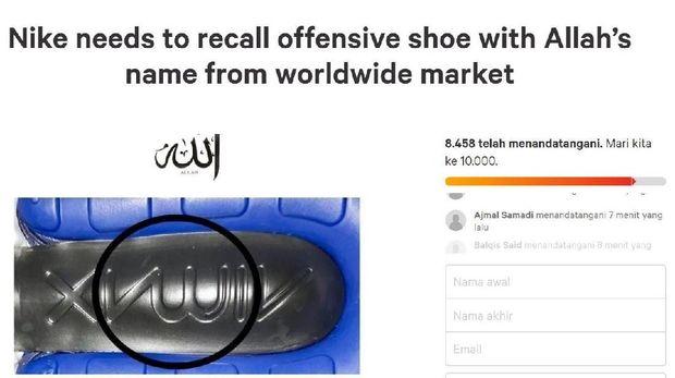 Diduga Ada Lafadz Allah di Sol Sepatu Nike, Netizen Buat Petisi