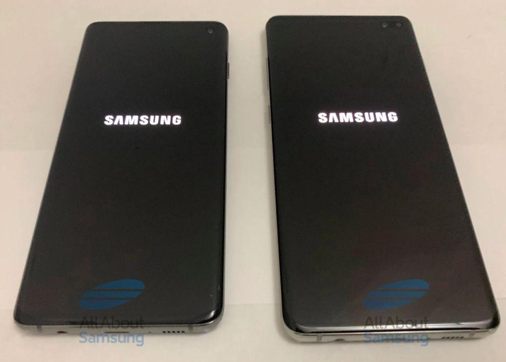 Bagian kiri katanya adalah prototipe Galaxy S10 dan bagian kanan merupakan prototipe Galaxy S10+. Selain kedua ponsel ini, Samsung diprediksi merilis varian ketiga yang paling murah, mungkin saja dinamakan Galaxy S10 Lite. Foto: Sammobile