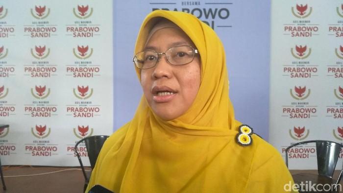 Ketua DPP PKS Ledia Hanifah di Media Center Prabowo Subianto-Sandiaga Uno, Jalan Sriwijaya I, Kebayoran Baru, Jakarta Selatan, Selasa (29/1/2019).