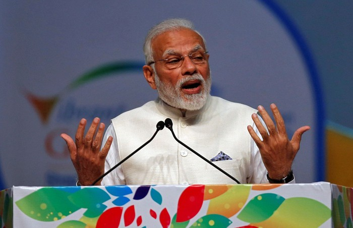 FILE PHOTO: Indias Prime Minister Narendra Modi speaks during the Vibrant Gujarat Global Summit in Gandhinagar, India, January 18, 2019. REUTERS/Amit Dave/File Photo