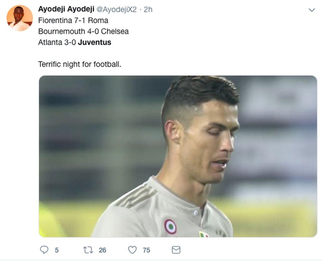 Juventus digebuk Atalanta dengan tiga gol tanpa balas di perempatfinal Coppa Italia. Cuma sampai situ saja langkah Ronaldo cs. (Foto: Internet/Twitter)