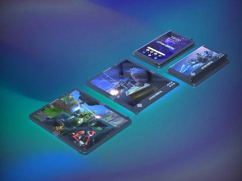 Hasil render 3D ponsel gaming layar lipat Samsung