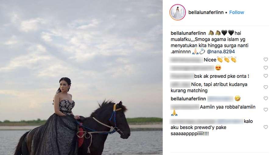 Bella Luna Pajang Foto Naik Kuda, Netizen: Besok Aku Prewed Pake Onta