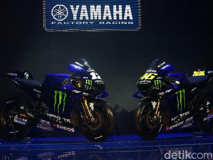 Penampakan motor Yamaha dengan sponsor baru. (Foto: Grandyos Zafna/detikcom)