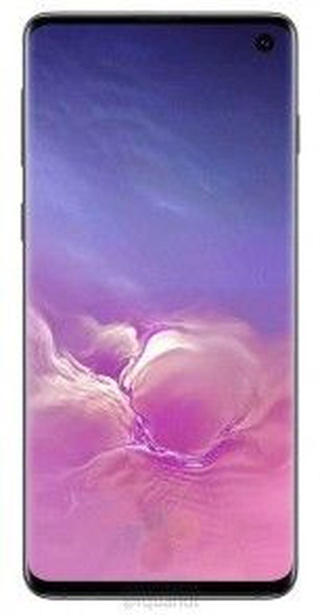 Ini adalah bocoran gambar press render Galaxy S10 yang kemungkinan sudah akurat dan final. Tampak bagian depan Galaxy S10 dengan kamera selfie tunggal tertanam di layar. Foto: Winfuture