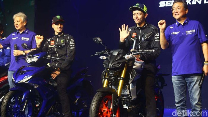 Valentino Rossi saat peluncuran motor baru Yamaha di Jakarta (Grandyos Zafna/detikSport)