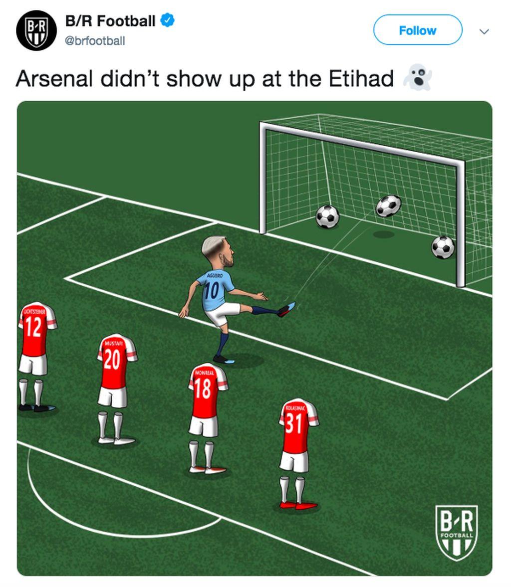 Pertahanan Arsenal begitu mudah dibobol Sergio Aguero. Foto: istimewa