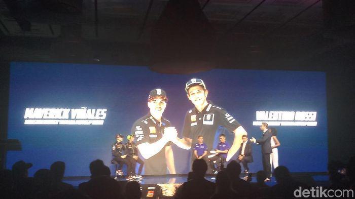 Valentino Rossi dan Maverick Vinales  dalam peluncuran motor baru Yamaha di Jakarta, Selasa (4/1).  (Yanu Arifin/detikSport)