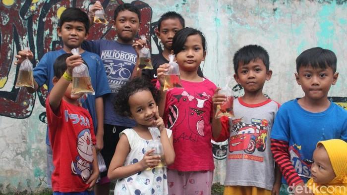 Ikan cupang dibagikan ke masyarakat untuk cegah DBD. Foto: Kireina S. Cahyani/detikHealth