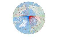 Titik putih merupakan posisi kutub medan magnet utara yang baru.