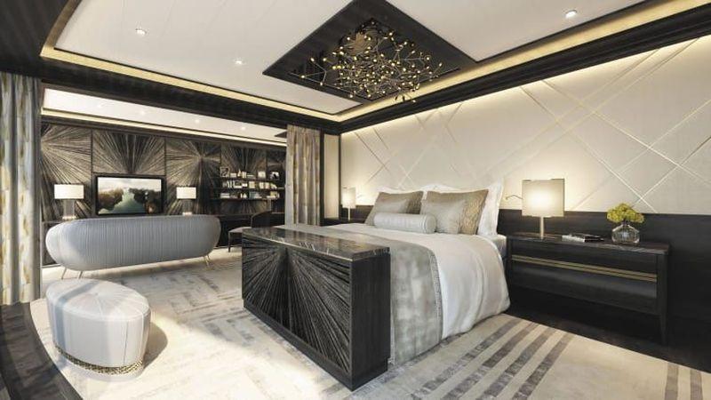 Kamar suite ini ada di kapal pesiar Seven Seas Splendor. Tempat tidurnya dibuat khusus oleh Hastens, perusahaan Swedia dengan bingkai kayu pinus (Regent Seven Seas Cruises/CNN Travel)
